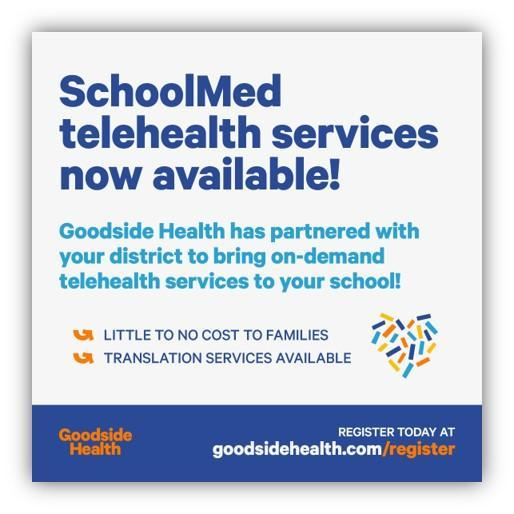 SchoolMed telehealth services now available!  ¡Servicios de telemedicina SchoolMed ya disponibles! Featured Photo