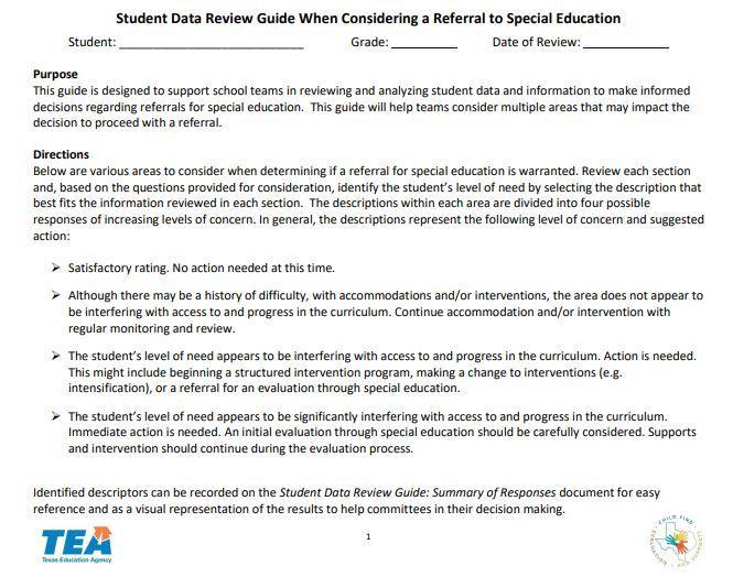 Image of Student Data Review Guide When Considering a Referral to Special Education document