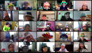 Zoom class wearing hats