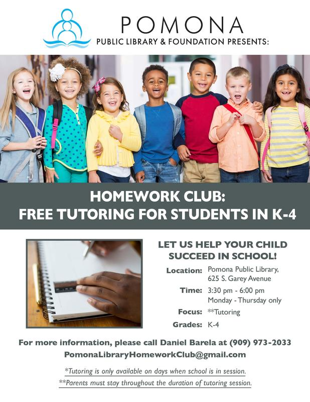 Free tutoring for students in K-4, For more information, please call Daniel Barela at 909-973-2033 or PomonaLibraryHomeworkClub@gmail.com #Proud2bePUSD #StudentSuccess