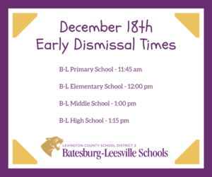 Early Dismissal Times Released for December 18th