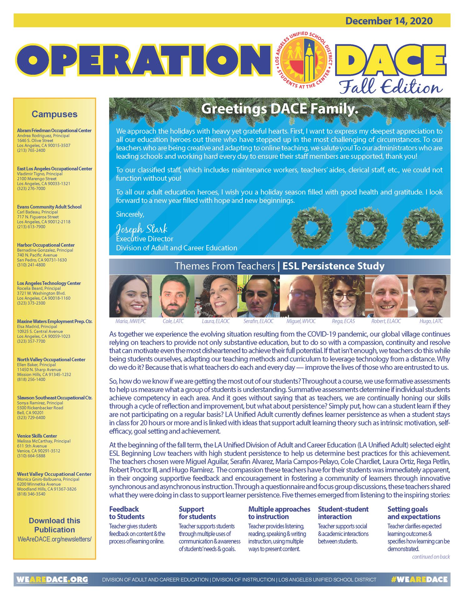 DACE Newsletter - December 14, 2020 Thumbnail