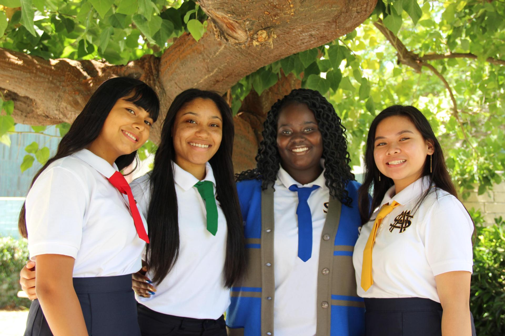 Four students Blue, Red, Green an Gold Ties