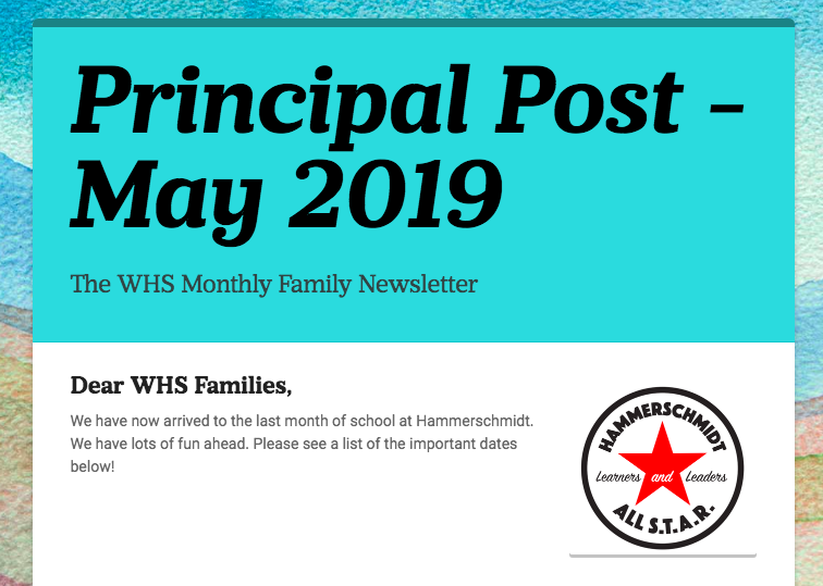 May 2019- WHS Principal Post Family News Thumbnail Image