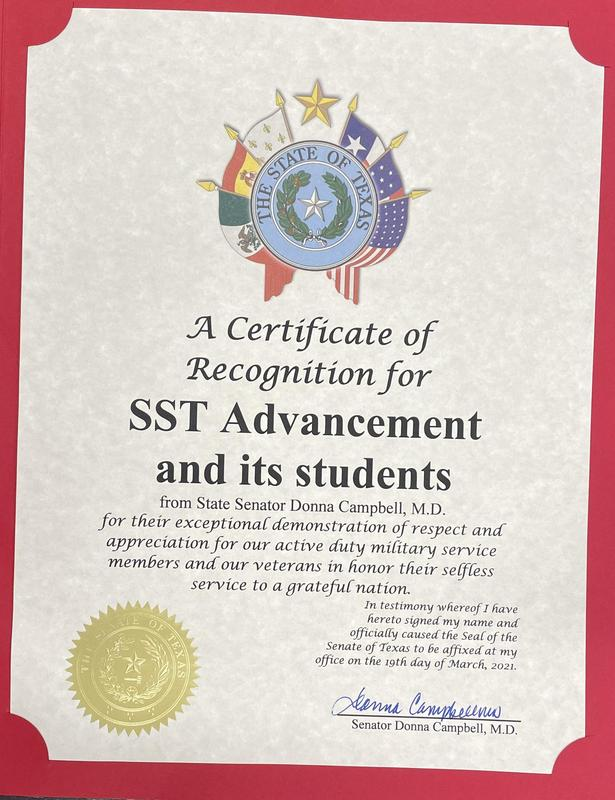 Certificate of Recognition for SST Advancement and its students. Featured Photo