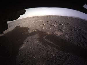 This is the first photo that Perseverance took on Mars. Credits go to NASA.