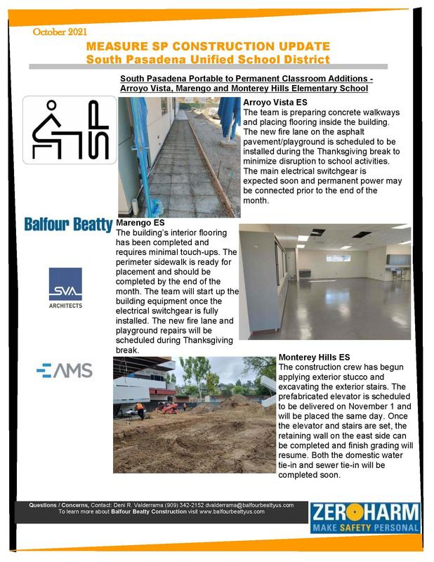 SPUSD Community Newsletter - Elementary School Projects - October 2021 Featured Photo