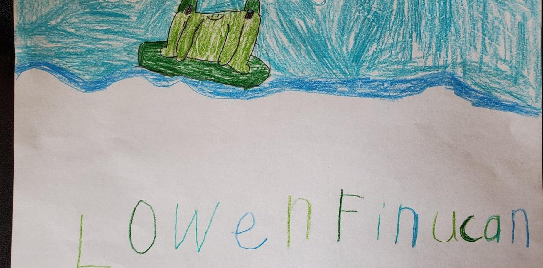 child's drawing of a frog.