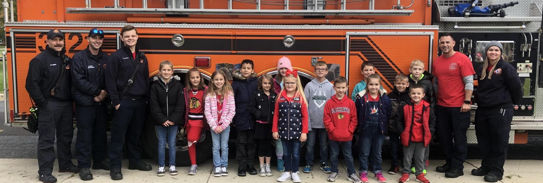 Visiting with the firemen