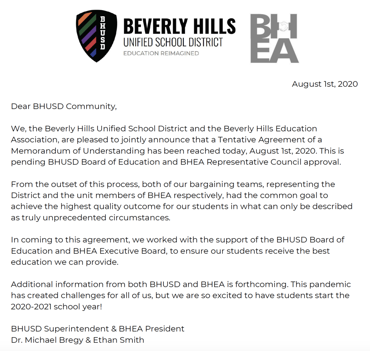 BHUSD and BHEA Reach Tentative Agreement