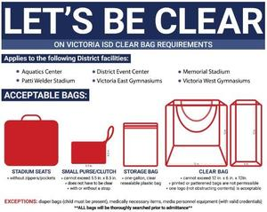 poster detailing the new clear bag procedure -- more information provided with the link attached
