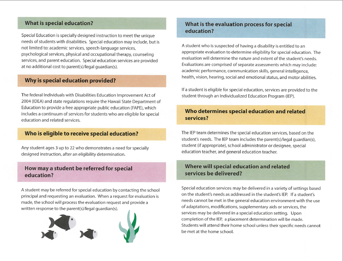 Special Education Brochure page 2