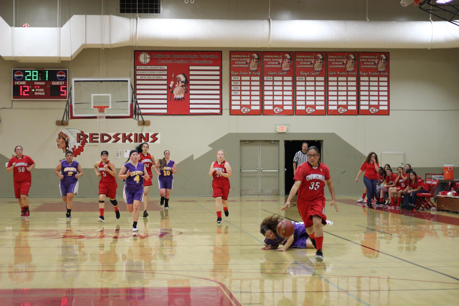 girls playing basketball against Minarets