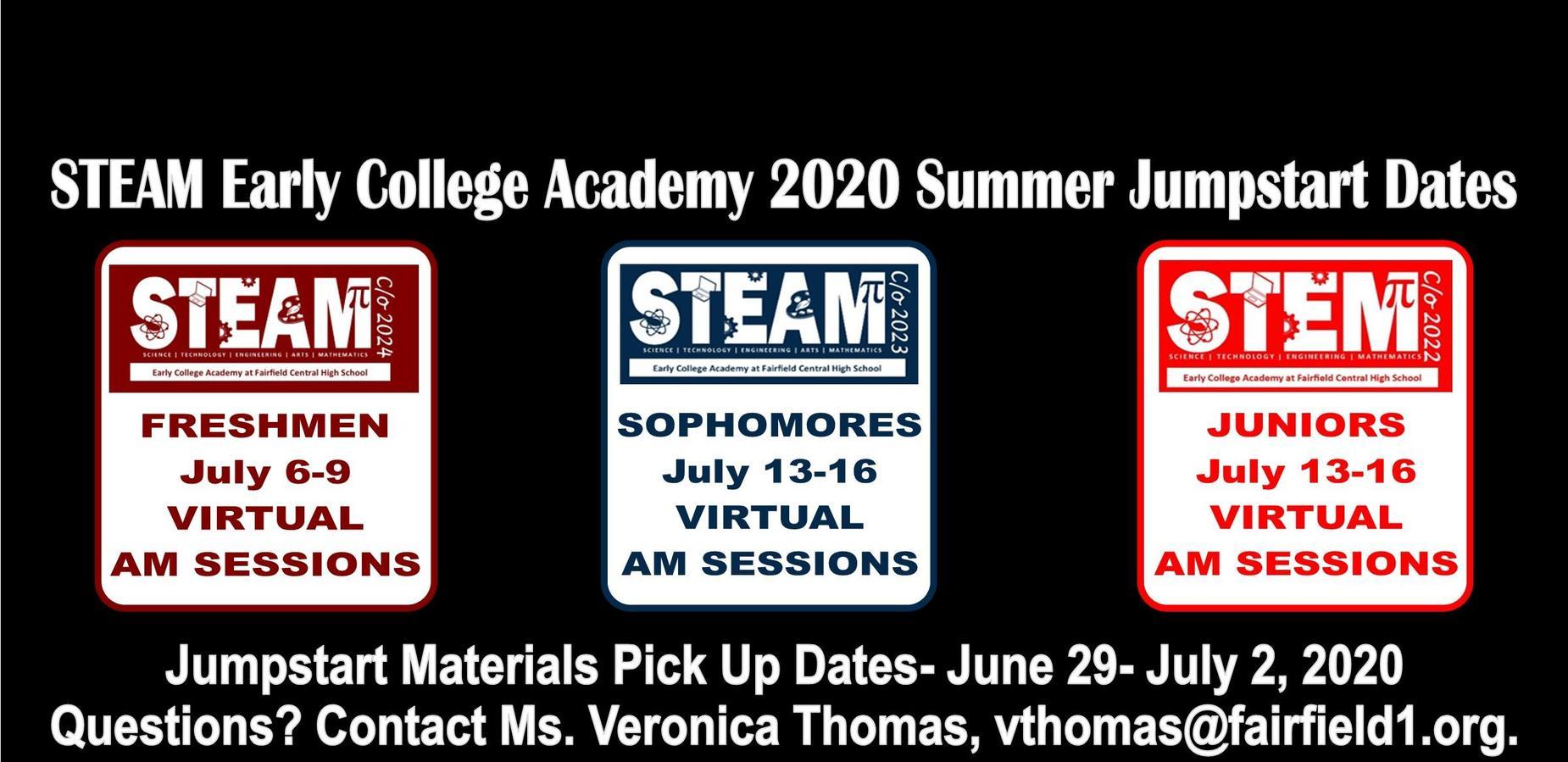 STEAM ECA 2020 Summer Jumpstart Dates