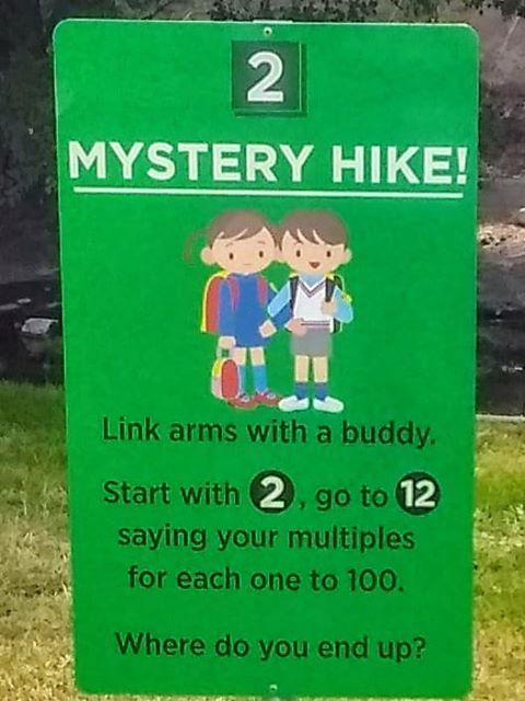 Mystery Hike sign at Snake River Elementary
