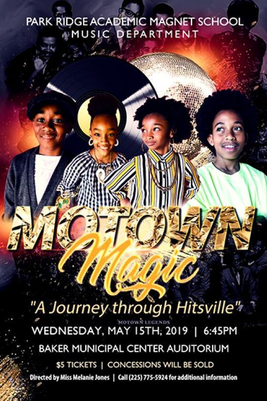 a photo of the flyer that is advertising the Park Ridge Music Department production of Motown Magic