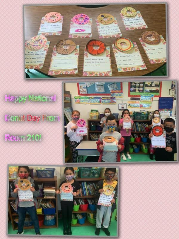 Students holding doughnuts assignments collage