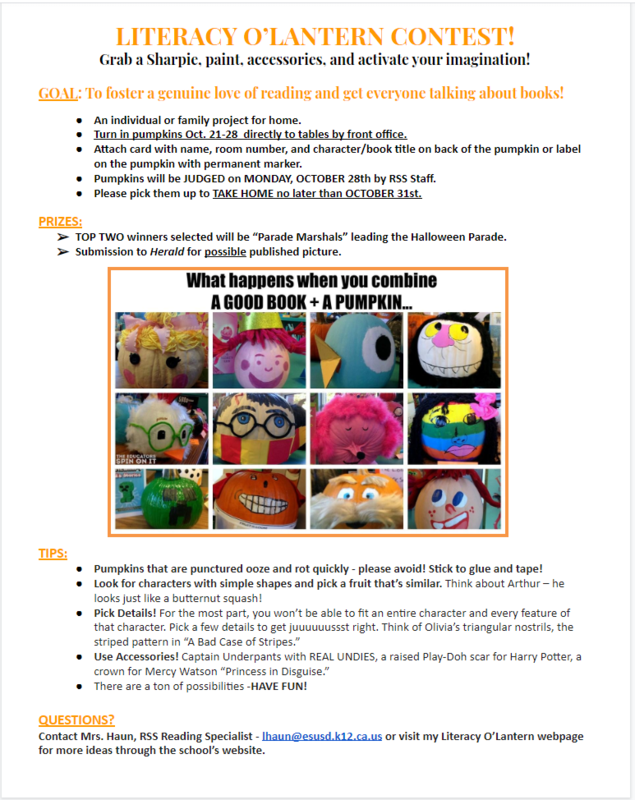 Literacy O' Lantern Contest CORRECTED DATES: 10/21-10/28! Featured Photo