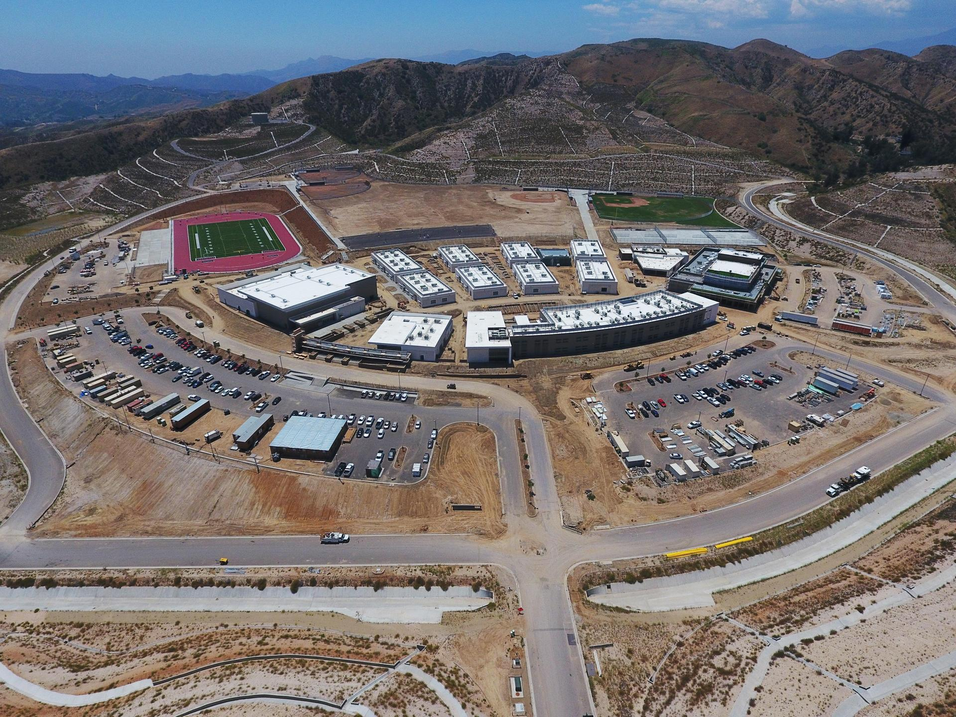 Aerial view of the entire campus of Castaic High School