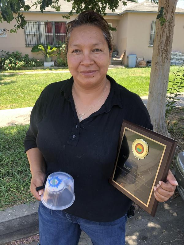 El Monte City School District Parent Advisory Committee members Maria Zuniga, Inez Abundez and Rosa Valentin received plaques and cupcakes in recognition of completing their two-year terms.