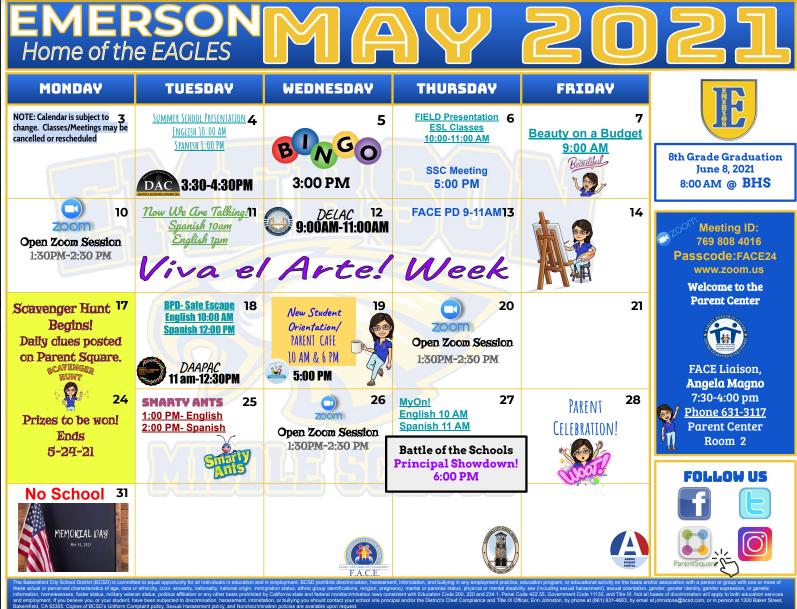 May Calendar English