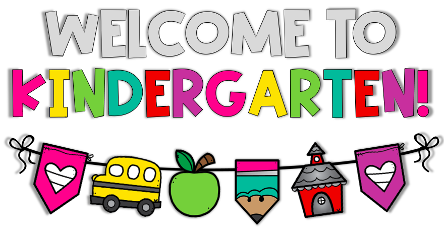 Welcome to kindergarten in various colors with a banner of a school bus, apple, pencil, and school