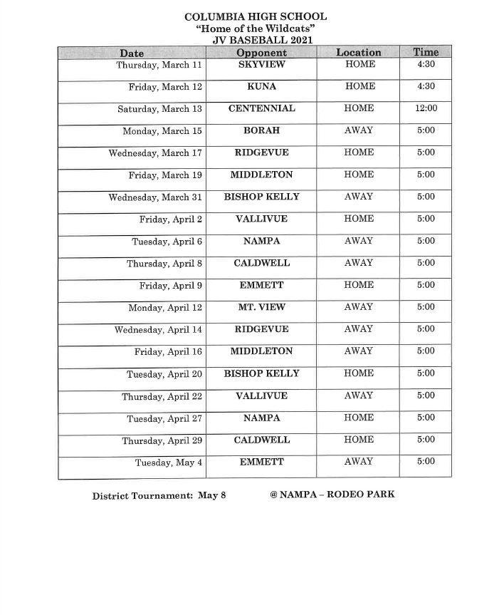 JV Schedule