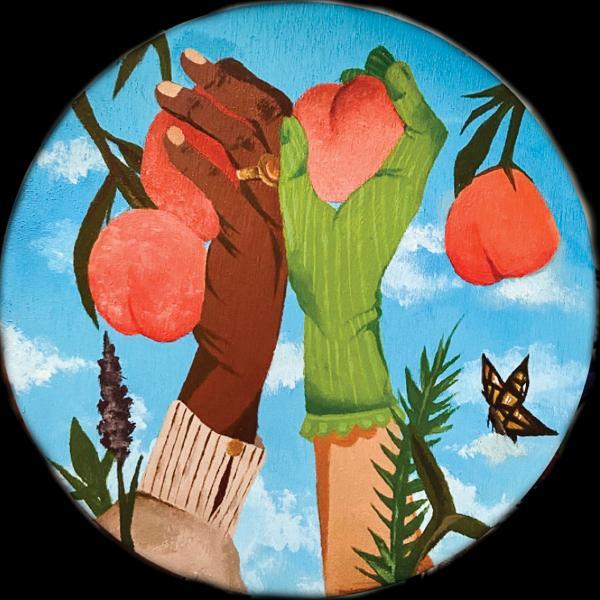 Student art work, painting featuring two arms extended with each hand holding a piece of fruit