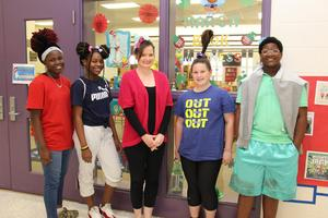 "Pictured from left to right are De'Nyla Hill (BLMS student), Da'Myah Merritt (BLMS student), BLMS Media Specialist Jill Slapnik, Jayme Sheaffer (BLMS student) and Shaquezius Dennis (BLMS student).  These individuals took part in the ""Crazy Hair Day"" celebration at B-L Middle School on Tuesday, March 5th as part of Read Across America Week activities."