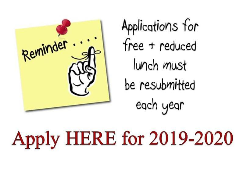 Apply here for 2019-2020 Free and Reduced meals
