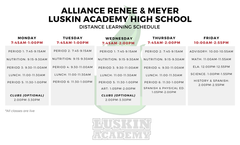 New Distance Learning Schedule Thumbnail Image