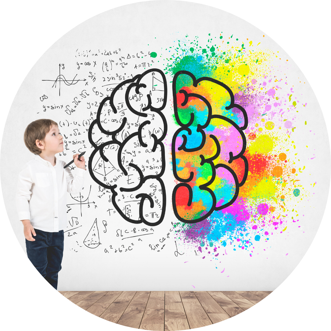boy drawing colorful brain full of ideas