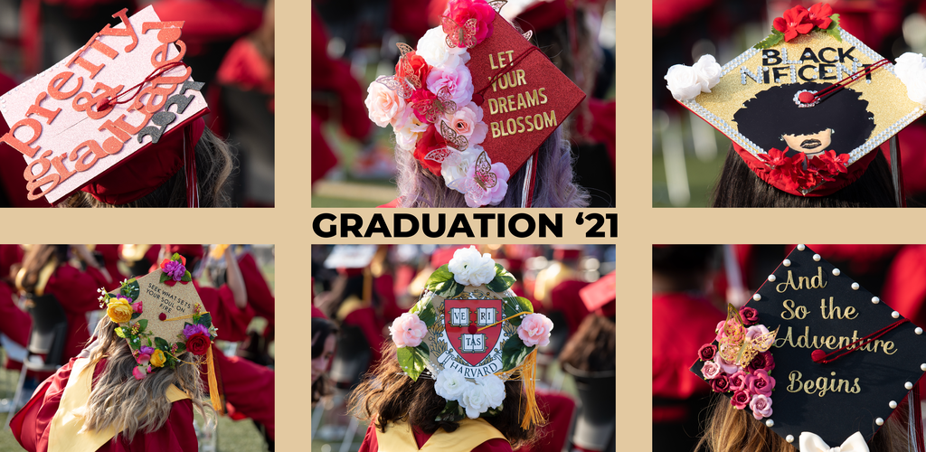Six-image photo tile, festive graduation caps decorated with slogans, words, and flowers