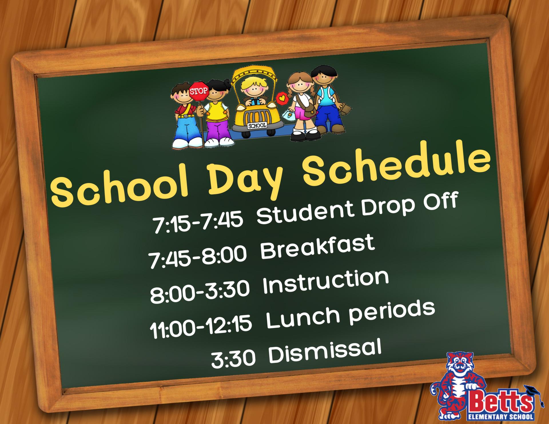 Image of Betts School Day schedule