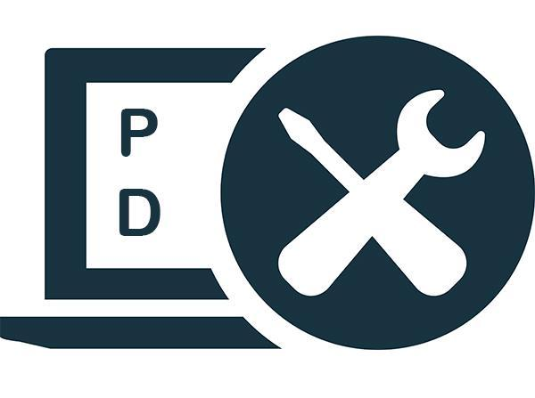 Letters PD next to an image of a wrench