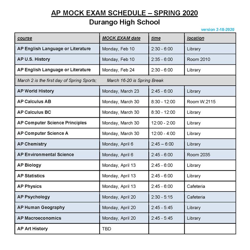 AP mock exam schedule spring 2020
