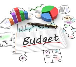 Budget graphic with graphs and hand drawn pictures