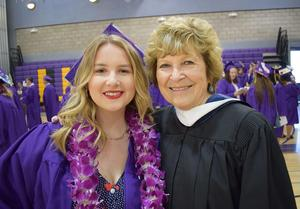 ACSA Region 4 Retired Administrator of the Year, Carolyn Barrett, with granddaughter Avery Barrett at Ukiah High School's 2019 Graduation Ceremony.