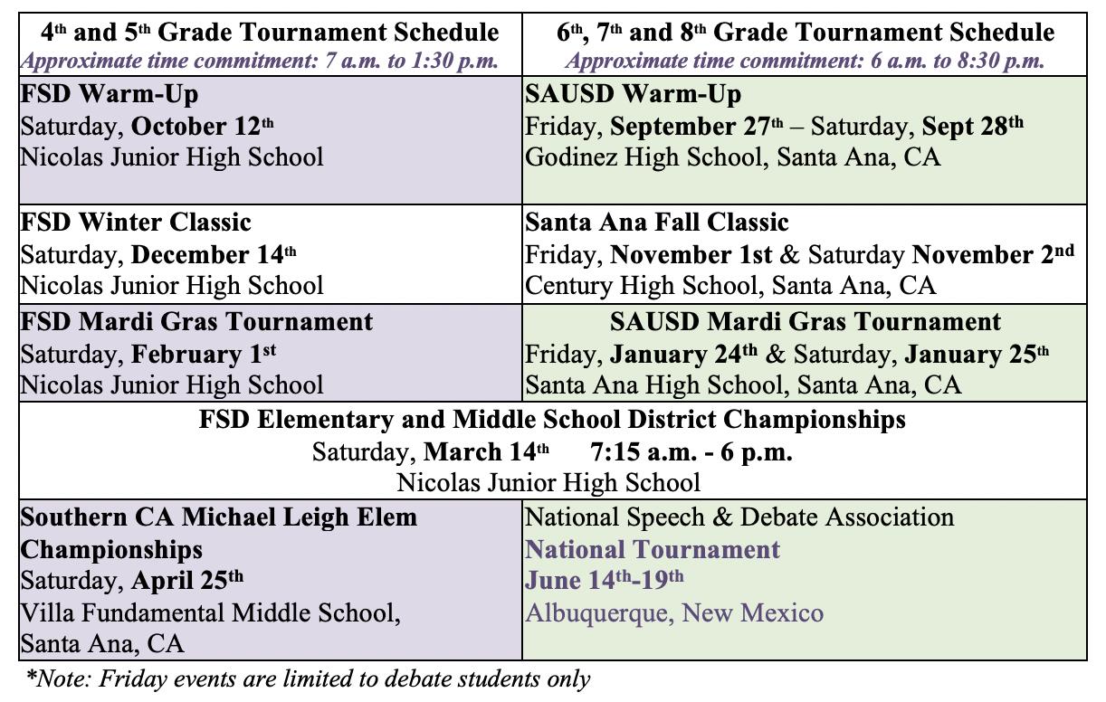Speech and Debate Tournament Calendar for 2019-2020