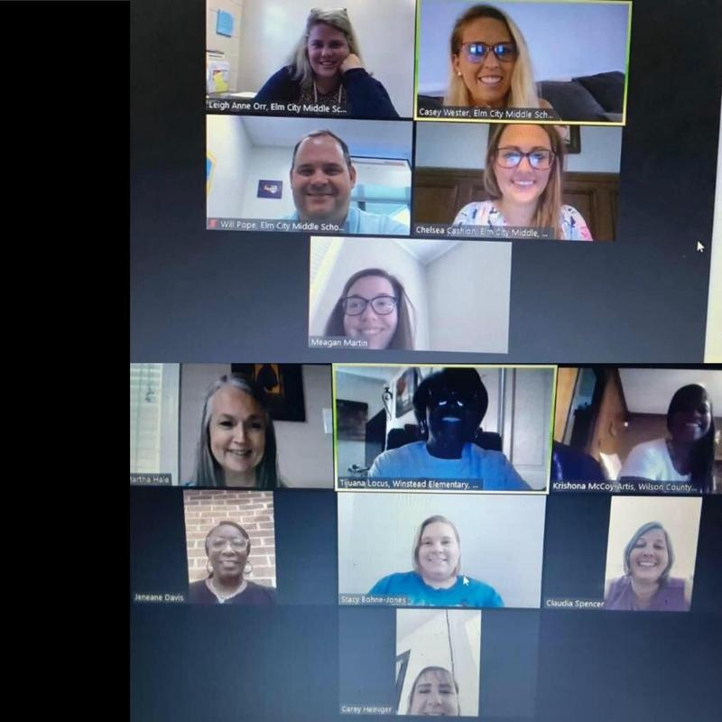 Elm City MS consisted of Principal Will Pope, Assistant Principal Casey Wester, Media Coordinator Meagan Martin and Teachers Leigh Anne Orr, Chelsea Cashion and Cliff Blanton. The group from Winstead ES included Principal Claudia Spencer, STEM Lab Facilitator Carey Heiniger, Instructional Coach Jeneane Davis and Teachers Tijuana Locus, Karen Maddry, Martha Hale, Krishona McCoy-Artis and Stacy Jones. The Central Office Team included Instructional Technology Facilitator Christine Mitchell, Executive Director of Secondary Education David Lyndon, Secondary STEM Coordinator Josh Rollins and Instructional Coordinator Debra Simons.