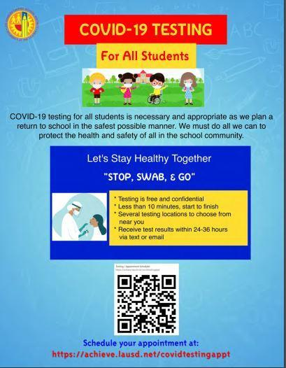 Free COVID-19 Testing for LAUSD Students Featured Photo