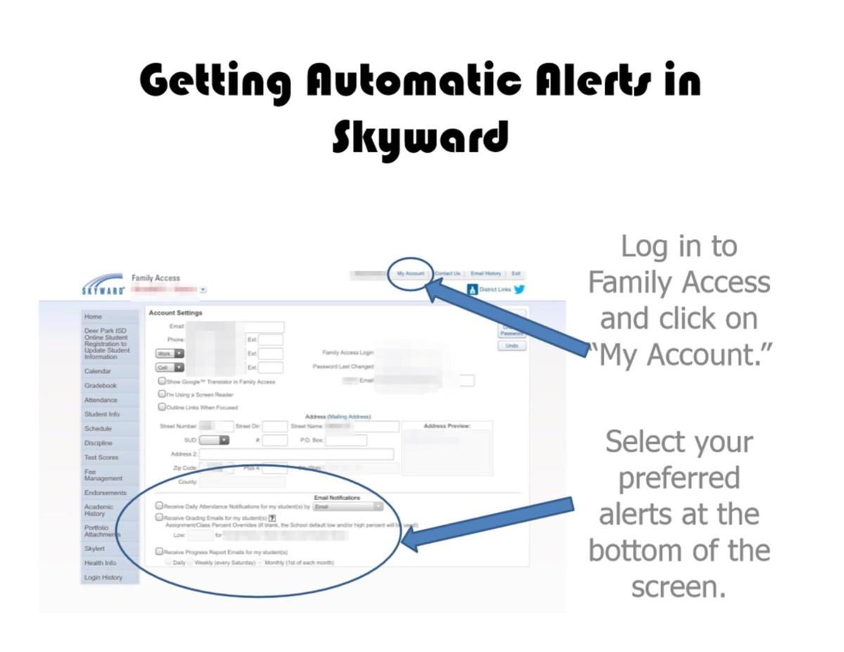 How to set alerts in Skyward