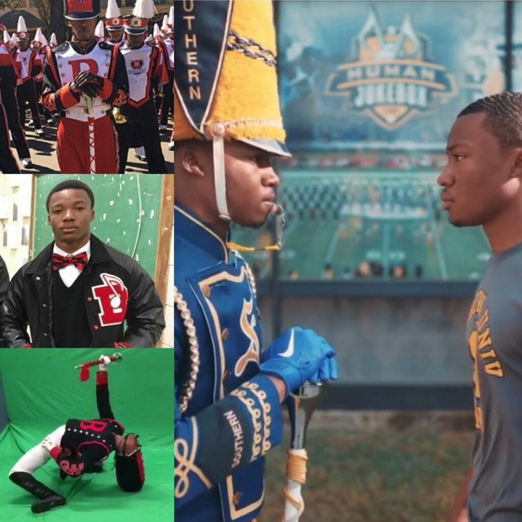 a collage of photos containing Jared White, the former Baker High School Drum Major who is now the 2020-2021 Drum Major of the SU Human Jukebox