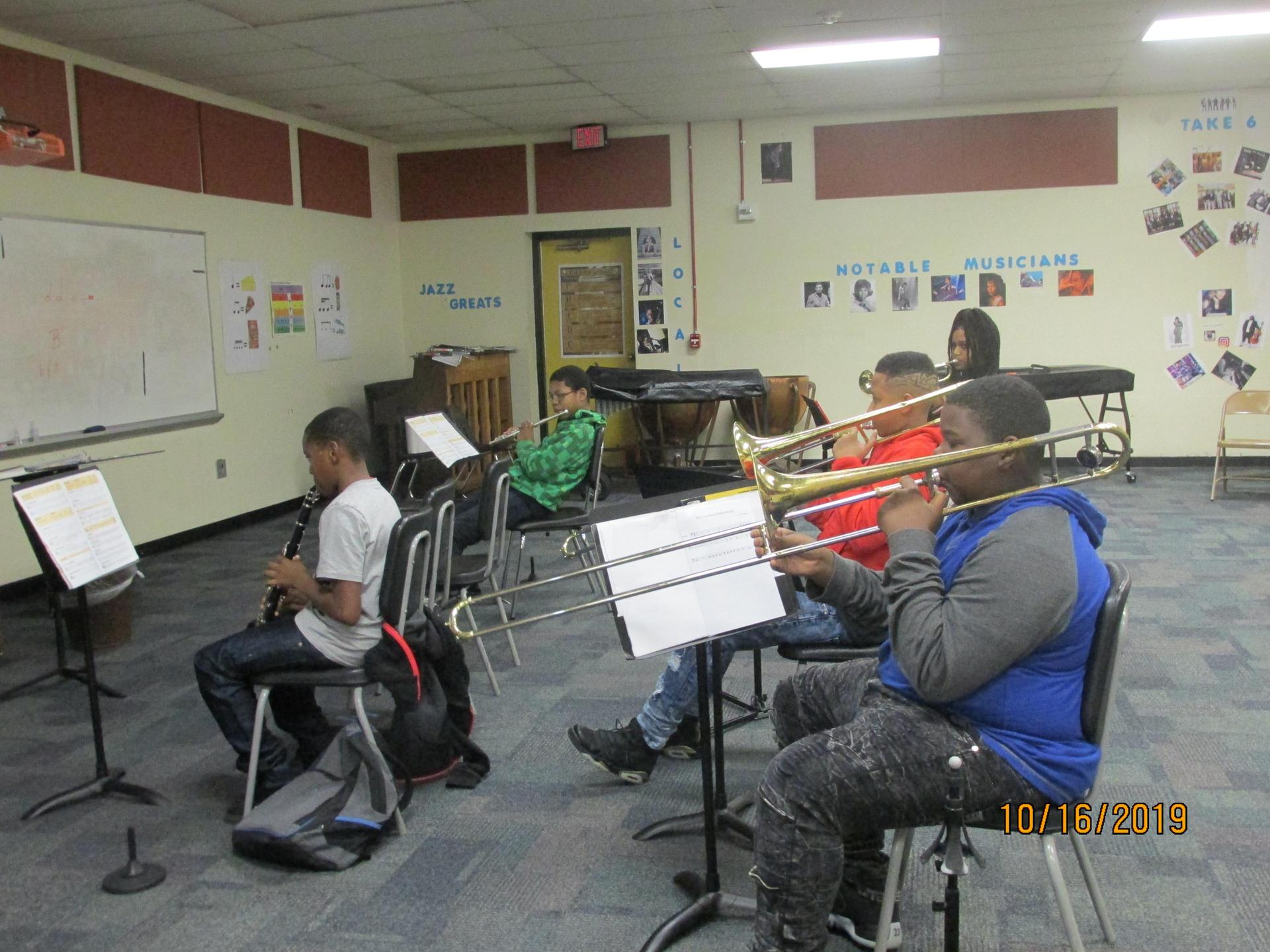 Band students practicing.
