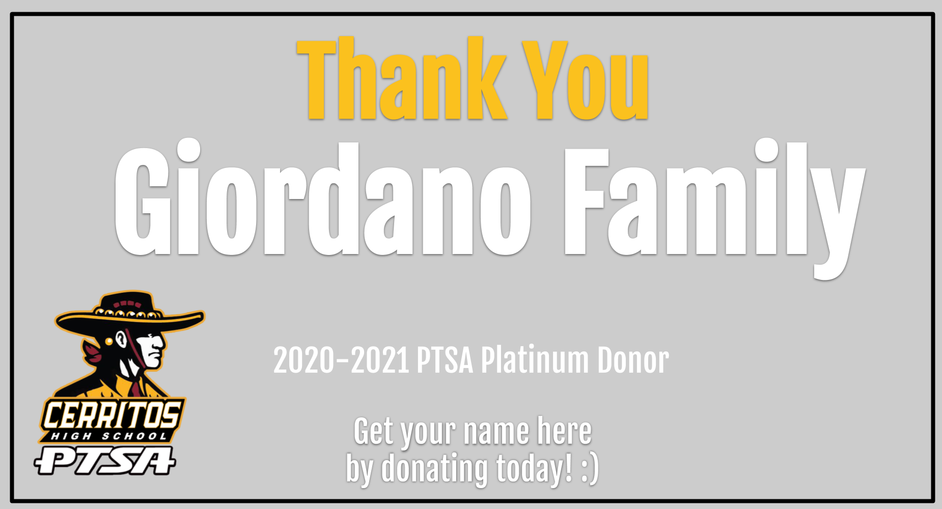 Thank you - PTSA Donor Giordano Family