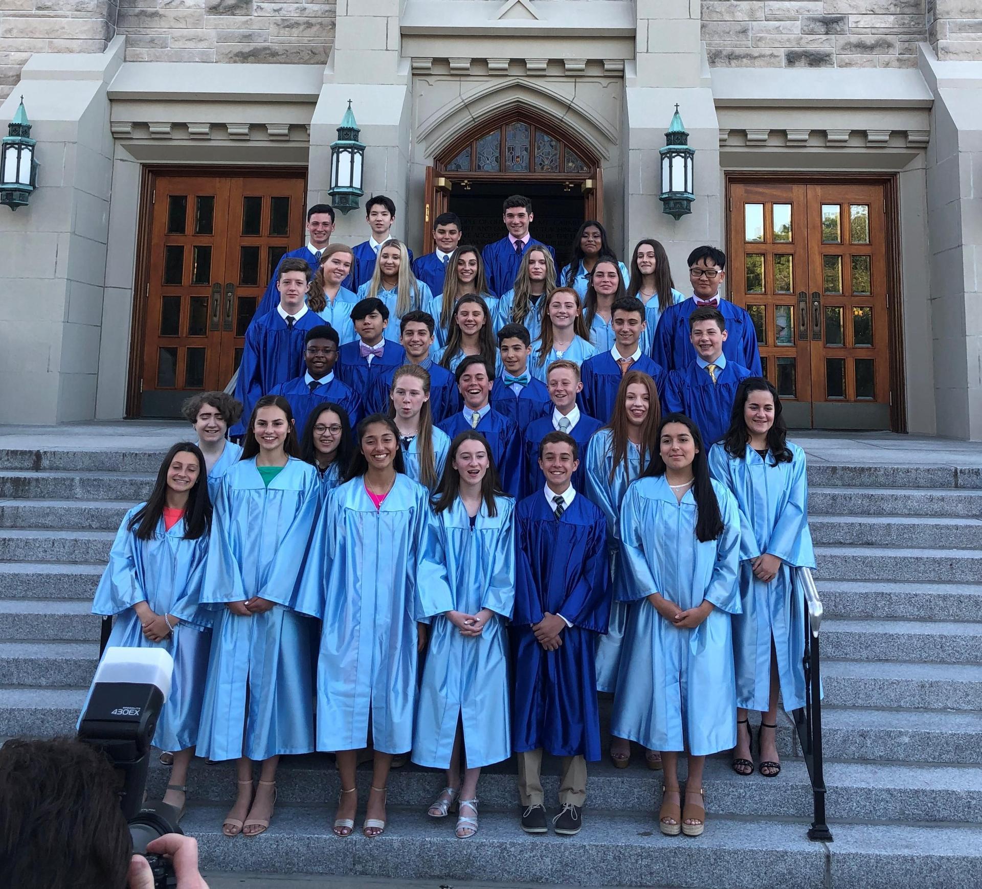 Gr8 Graduates on OLMC steps