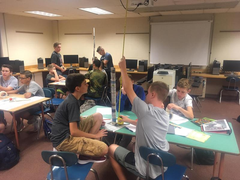 Students working on engineering challenge.