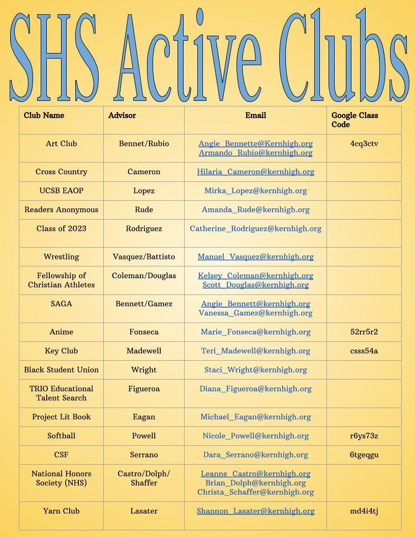 SHS Club List 2020-2021