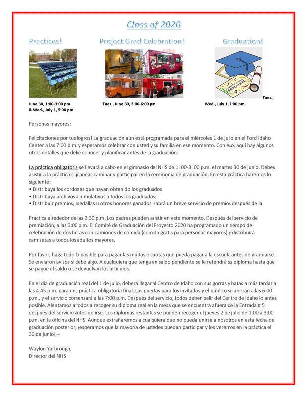 Información de graduación del NHS