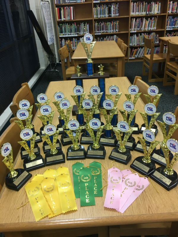 trophies and ribbons earned at the UIL meet